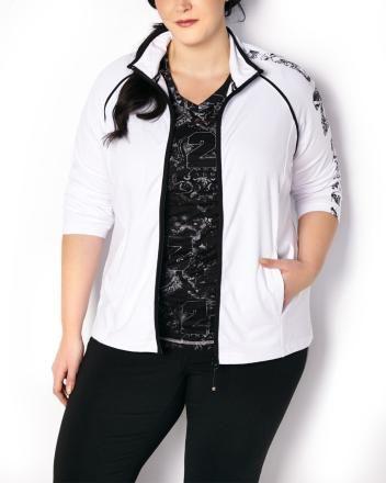 15cb0b89871 ActiveZone Long Sleeve Jacket ActiveZone Burnout Print T-Shirt Stylish Plus