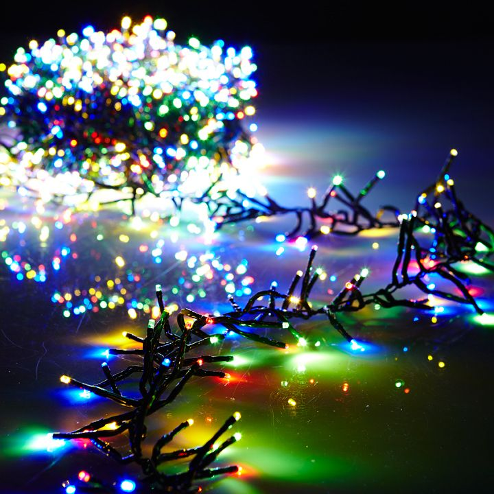 Raz 10 Multi Color Compact Cluster Garland 300 Lights With Green Wire And Remote Function G3737024 Multi Colored Christmas Lights Cluster Lights Cluster Christmas Lights