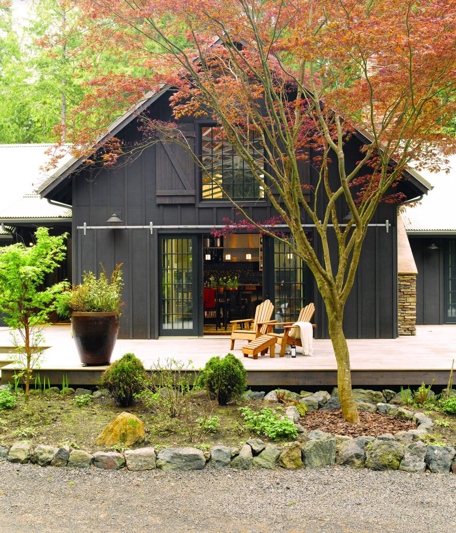 Home Deck Colors House: Black Pole Barn With Wrap Around Deck