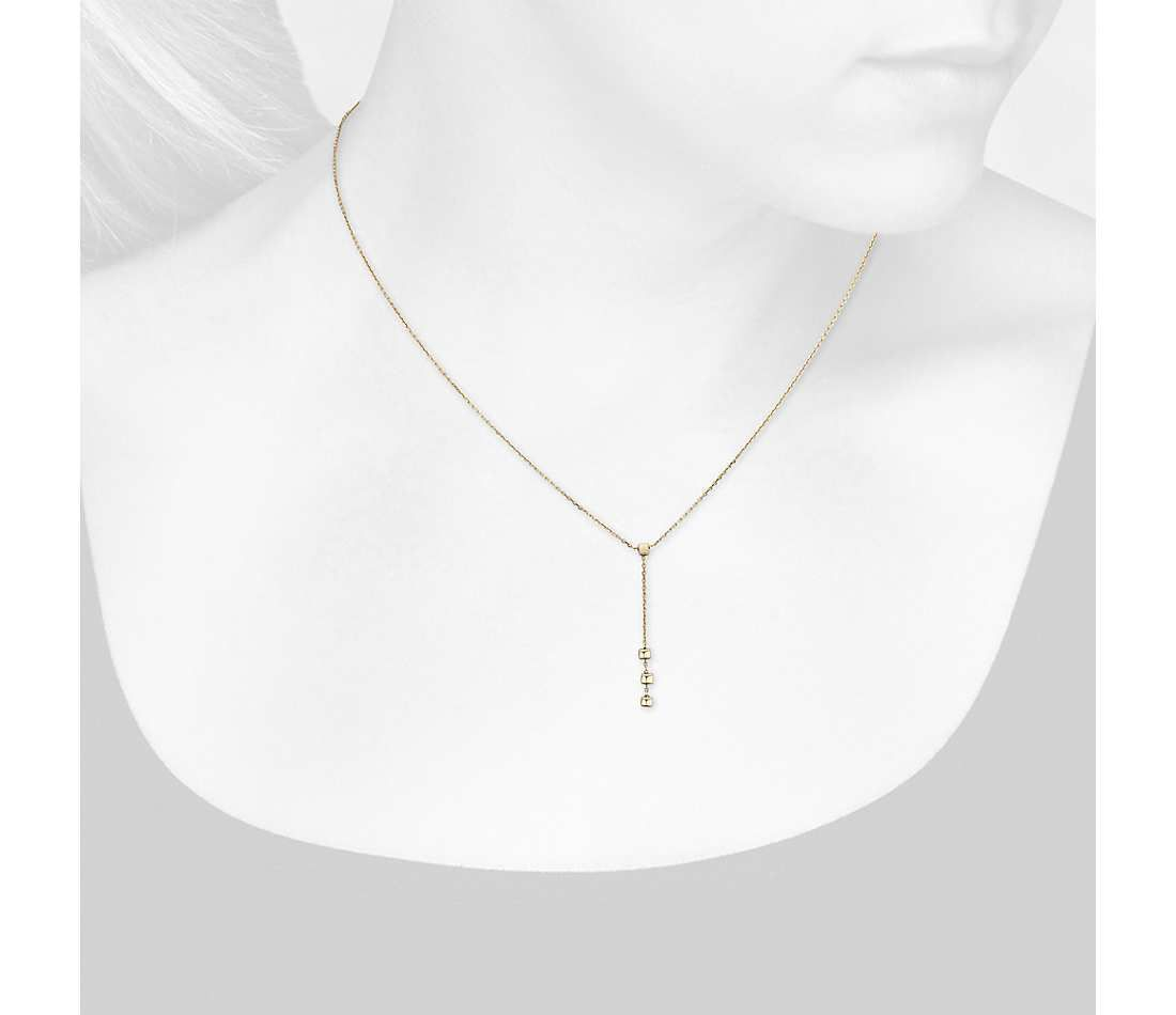 Blue Nile Petite Square Y-Drop Necklace in 14k Yellow Gold bKzNO