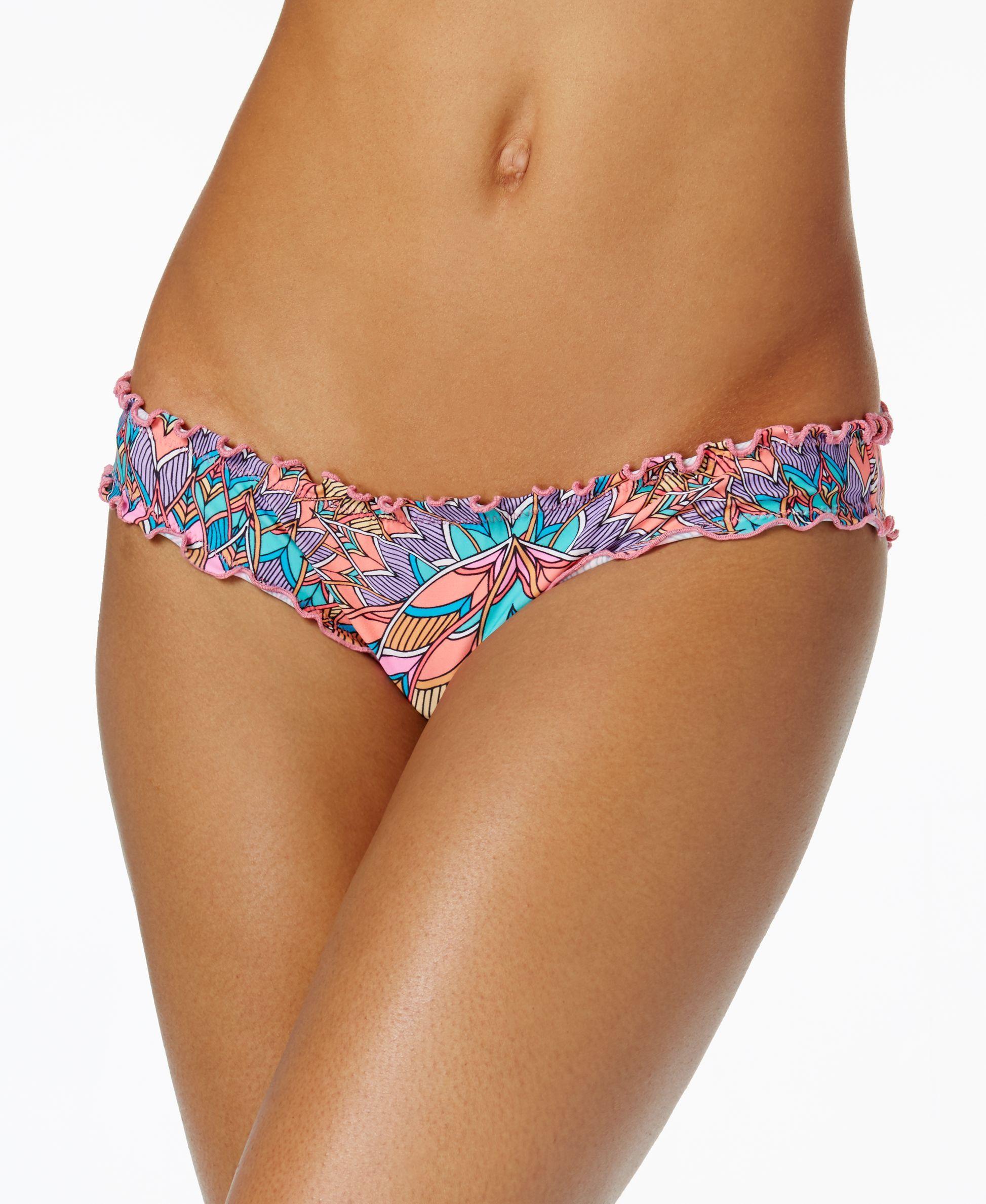 Sundazed Black Multi Mermaid Ruffled Cheeky Bikini Bottom S