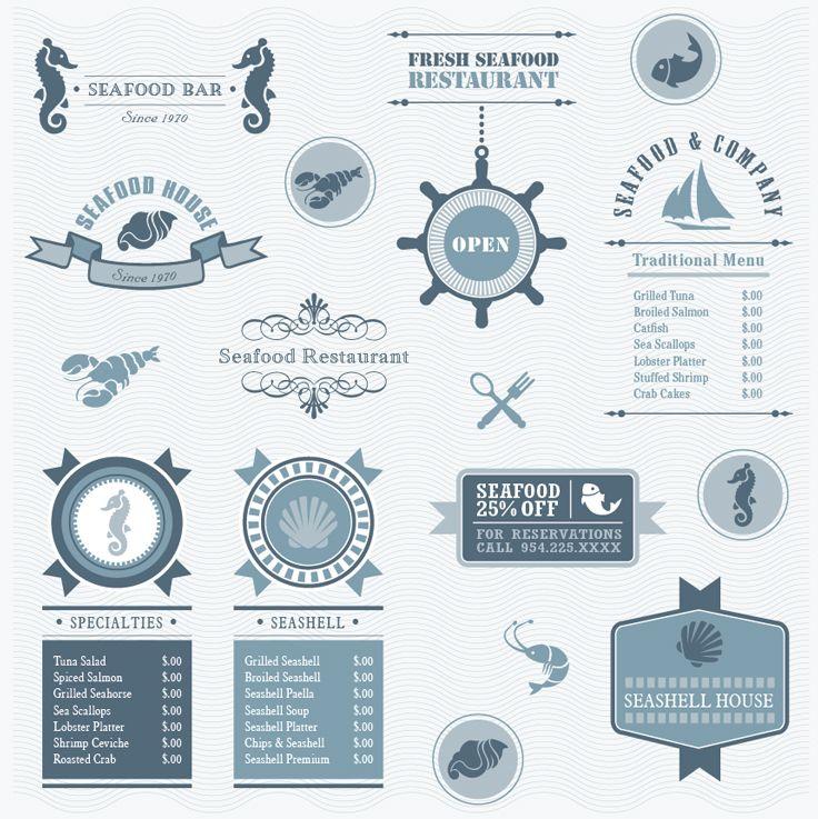 Elegant vector package for Seafood restaurant. #restaurantbranding #restaurantgraphics #typography