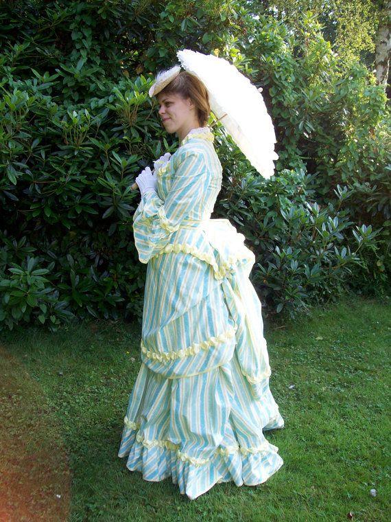 Yellow stripe Victorian bustle dress - Steam punk summer picnic ...