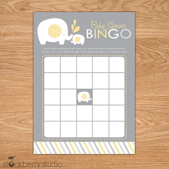 Elephant Baby Shower Bingo Game Printable  Yellow And Gray