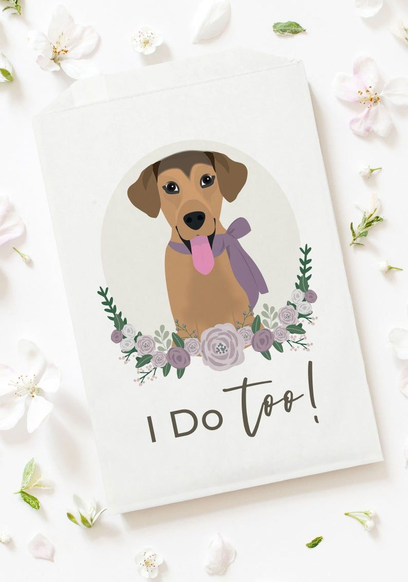 Dog Treat Bag Wedding Exit Favor Doggie Bag Confetti Or Etsy In 2020 Petal Toss Dog Treat Bag Custom Illustration