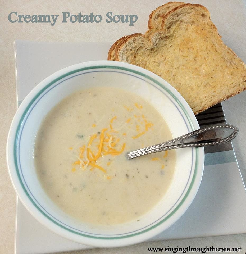 """""""Creamy Potato Soup! I made it one time when I wasn't feeling well and was happy to have all the ingredients already in the house. It's super yummy too!"""" — Kathryn S. of Singing Through the Rain Get Kathryn's Creamy Potato Soup recipe>>"""
