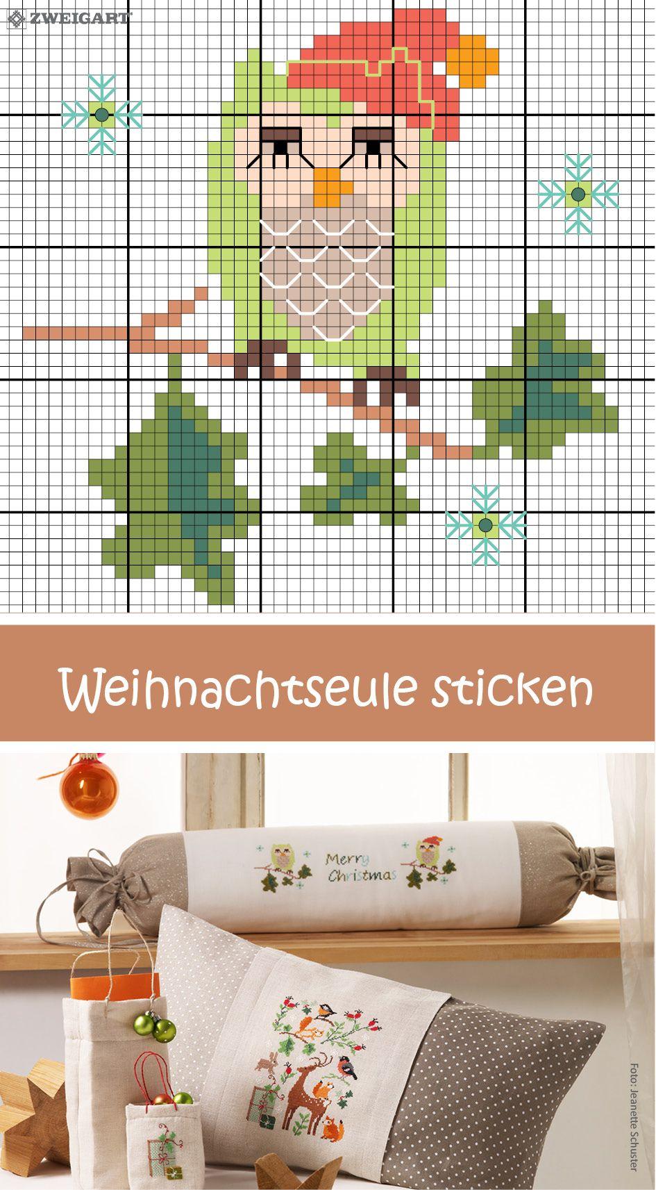 Windschutz mit Weihnachtseule sticken #Sticken #Kreuzstich ...
