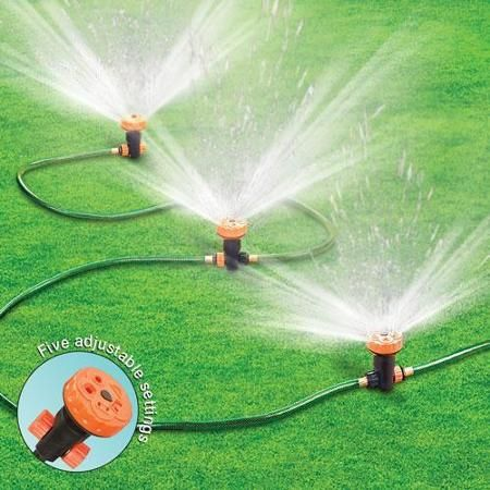 Portable Lawn Sprinkler System 3 Heads 5 Settings Lawn Sprinkler
