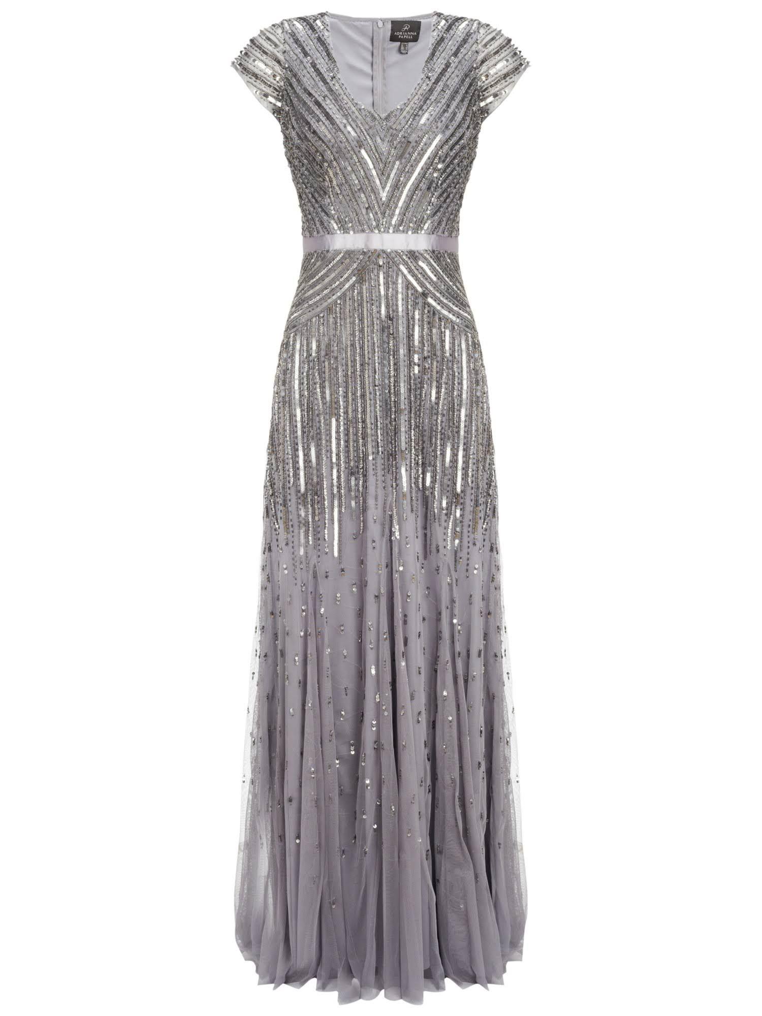 d64ccf2436 Adrianna Papell Cap Sleeve Long Sequin Dress, Silver/Grey ...