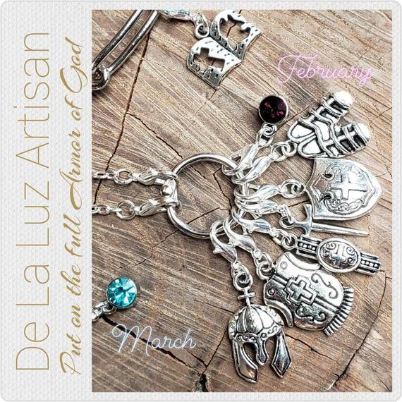 Silver Armor Of God Charm Necklace With Custom Birthstone