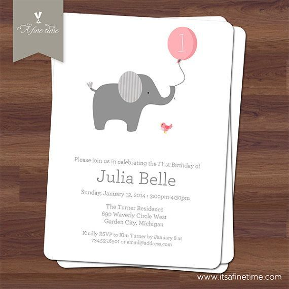 Elephant 1st Birthday Invitations