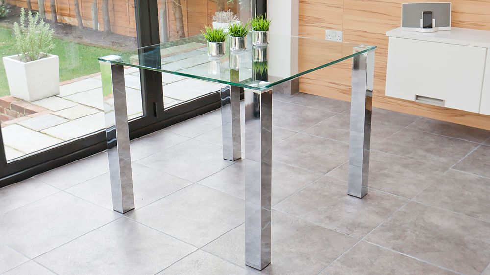 Square Glass Dining Table For 4 | Chrome Legs