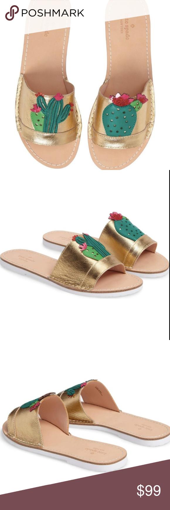 ce59e4f3f347 Kate Spade Gold Iguana Cactus Slides Sandals 7 Bright appliqué cacti at the  strap of kate