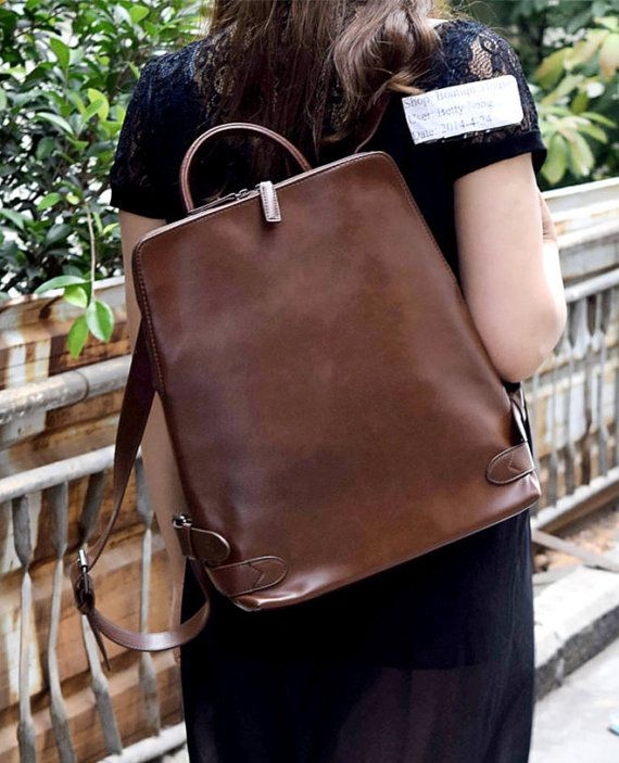 BACKPACK 16'' Men LEATHER Leather Leather Casual Women and Satchel qxwxSpO