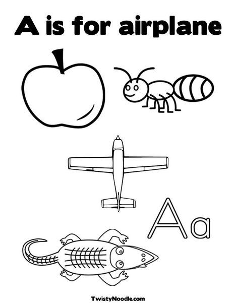 A is for airplane Coloring Page from TwistyNoodle.com | Mommy School ...