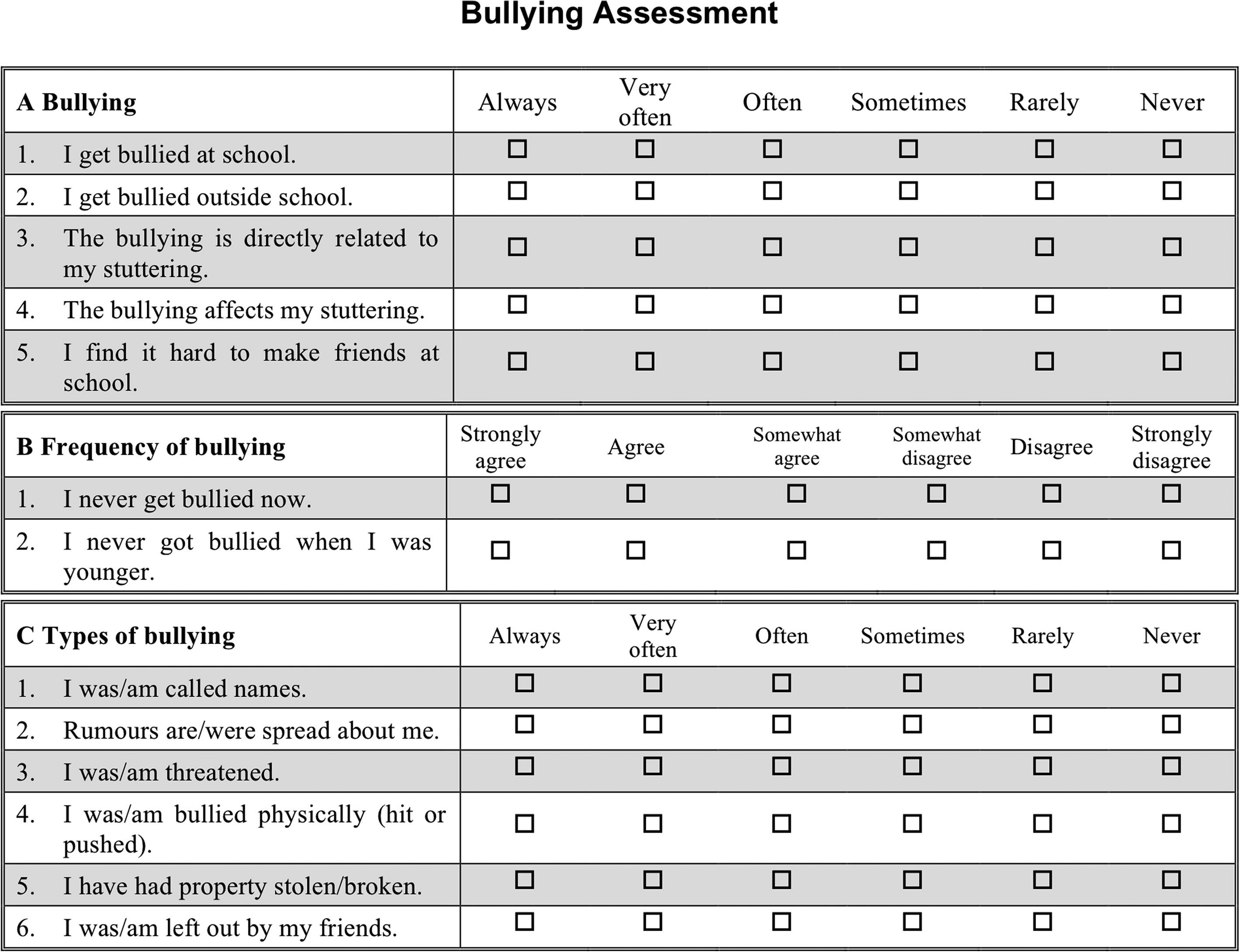 Bullying In Children And Teenagers Who Stutter And The