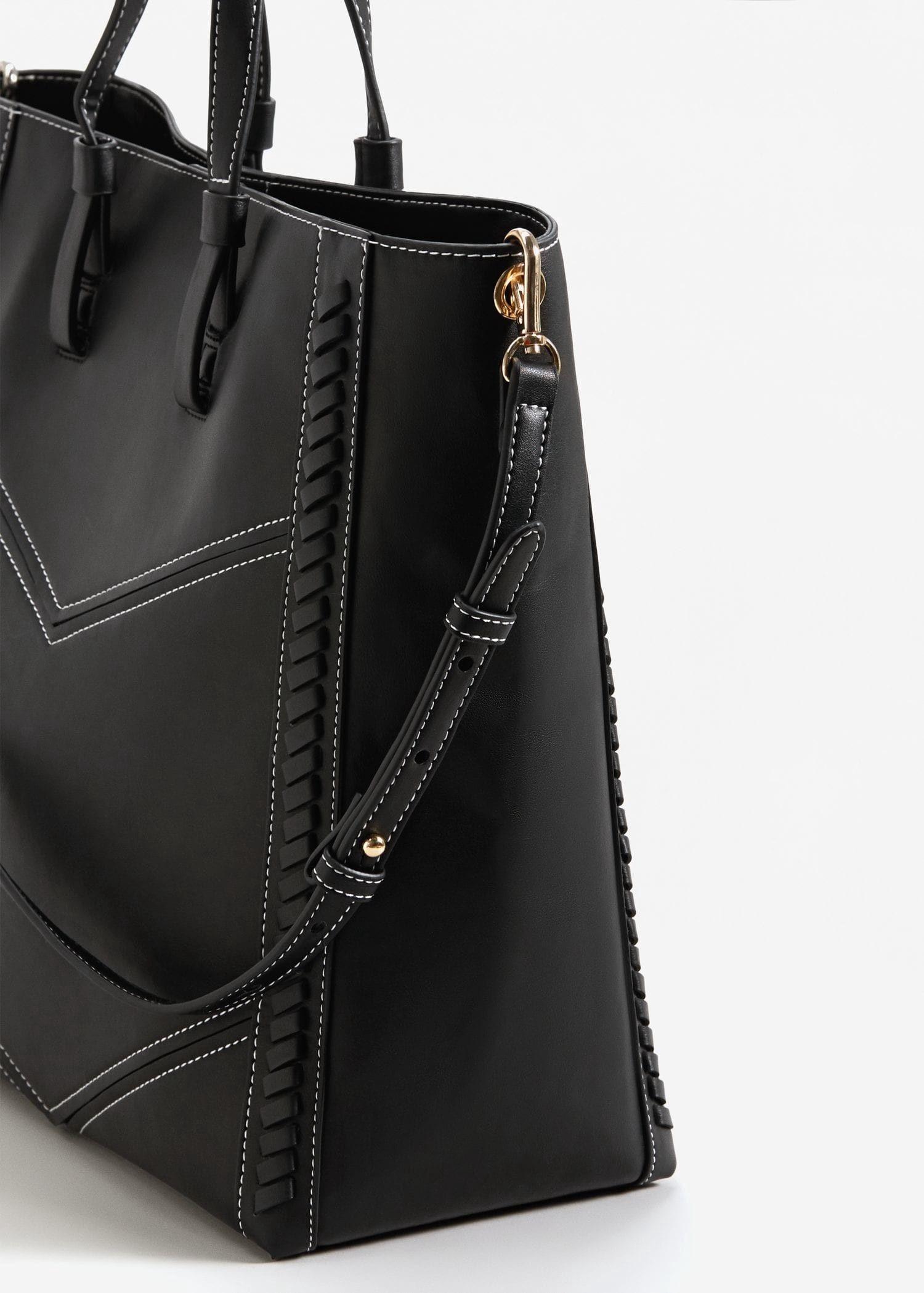 dbda9e3a8c Mango Contrast Seam Shopper Bag - Black