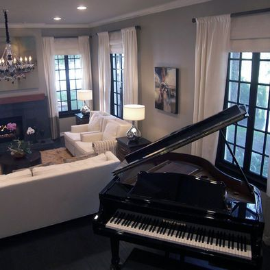 Dream living room except for the white furniture but - Baby grand piano living room design ...
