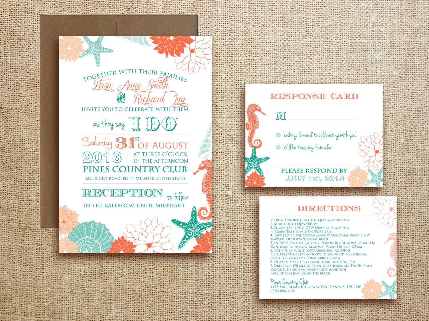 Beach Tropical WEDDING INVITATION Destination Wedding