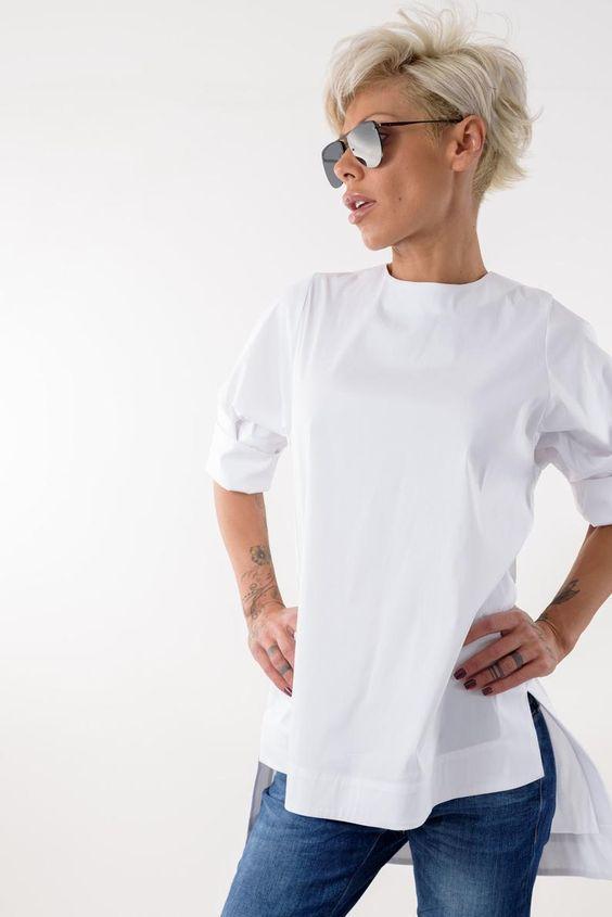 Snow White Shirt, Cotton shirt, Tunic Shirt, White