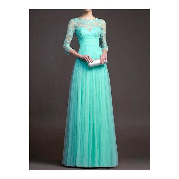 e548d7a07a SheIn(sheinside) Seafoam Turquoise Charmeuse Sheer Lace Porm ($20) ❤ liked  on Polyvore featuring tops, turquoise, turquoise tops, maxi top, long  sleeve ...