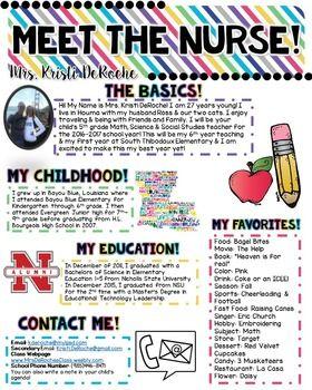 Meet The Nurse Newsletter Editable Bright Stripes Teacher
