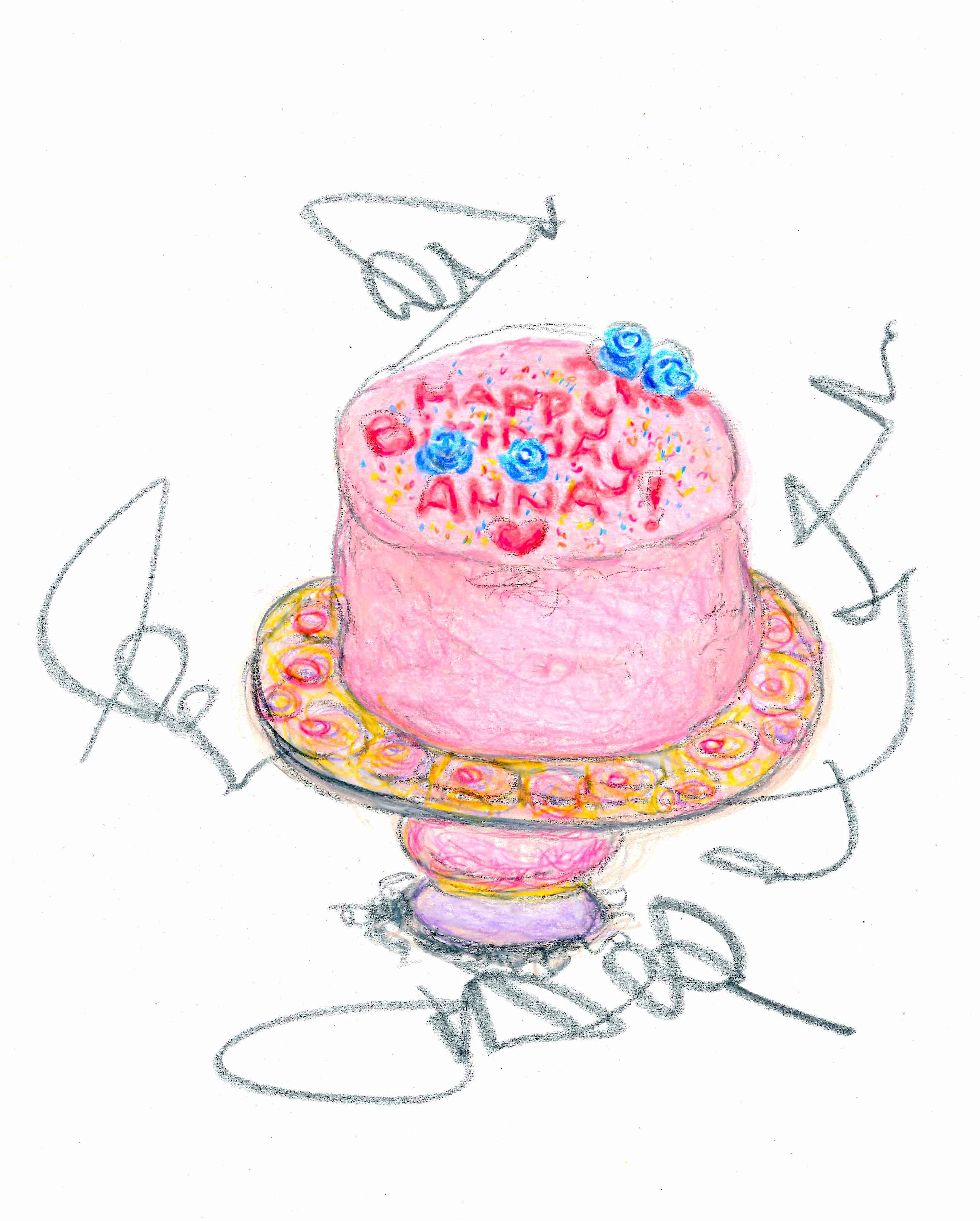 Magnificent Colored Pencil Illustration Of A Birthday Cake Pencil Illustration Personalised Birthday Cards Veneteletsinfo