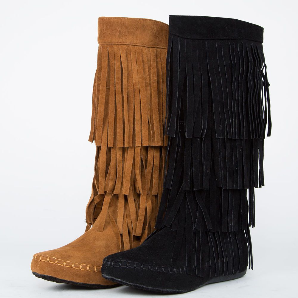 Womens Flats Faux Suede Mid Calf Boots Casual Tassels Fringes Flats Gothic Shoes