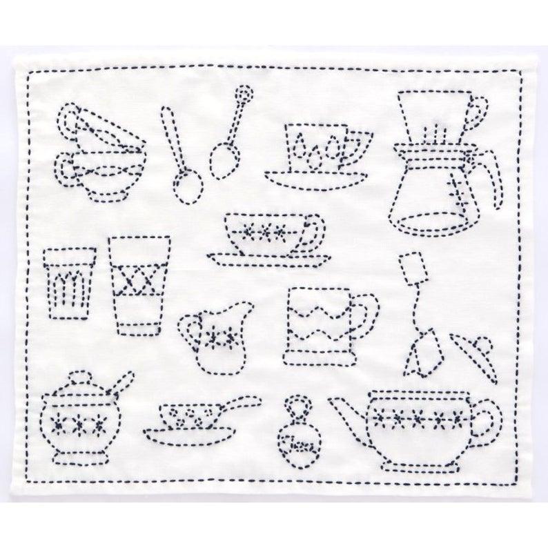 Tea time cotton sashiko pattern kit stitch on the