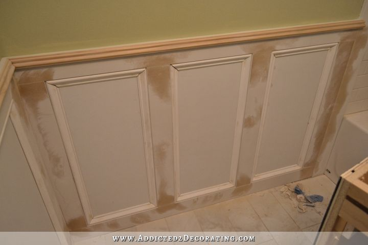 Recessed Panel Wainscoting With Tile Accent Part 1 Addicted 2 Decorating Dining Room Wainscoting Diy Wainscoting Judges Paneling