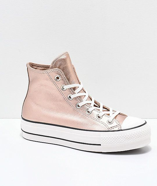 ab36926bf44 Converse Chuck Taylor All Star Metallic Beige Platform Shoes em 2019 ...
