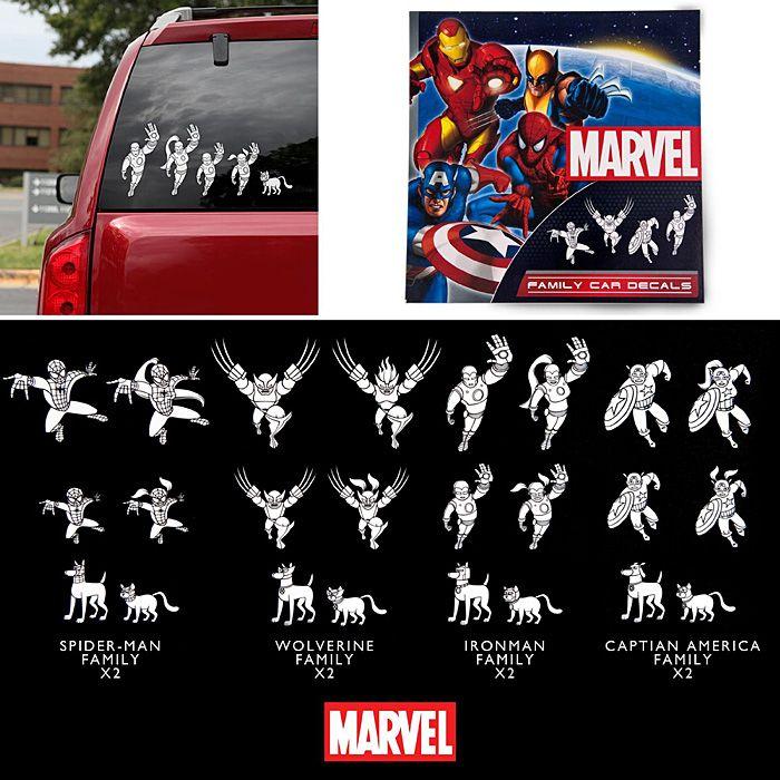 Marvel Superhero Family Car Decals
