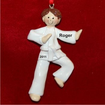 Brunette Male Karate - Personalized Sports Ornament for ...