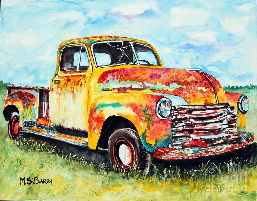 Rusty Old Truck Painting Rusty Old Truck Fine Art Print