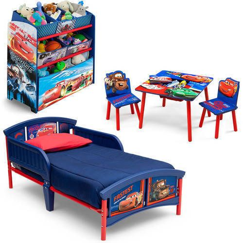 Toddler Bedroom Set Boys Cars Furniture Bed Storage Table Chairs Toy ...