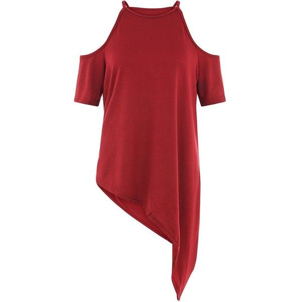 43652c69c5f30 AX Paris Red Cold Shoulder Asymmetric Top ( 23) ❤ liked on Polyvore  featuring tops
