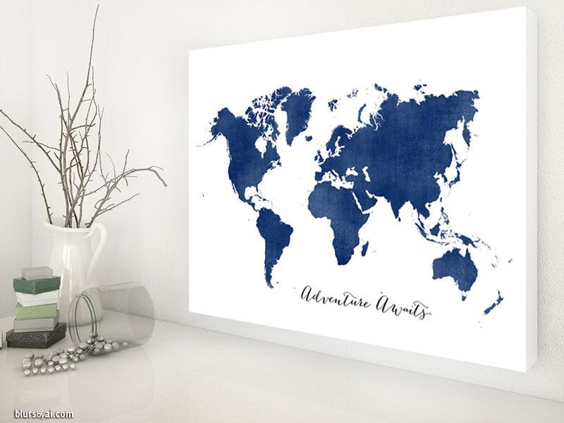 Adventure awaits canvas print featuring the world map silhouette in adventure awaits canvas print featuring the world map silhouette in navy blue large gumiabroncs Image collections