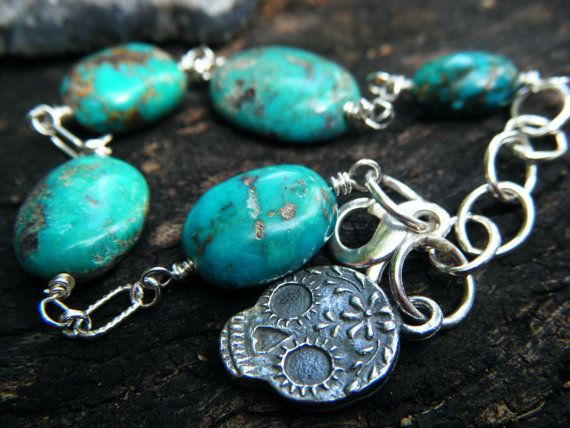 Sterling Silver Turquoise Anne Choi Sugar Skull by ManakbyDesign, $120.00