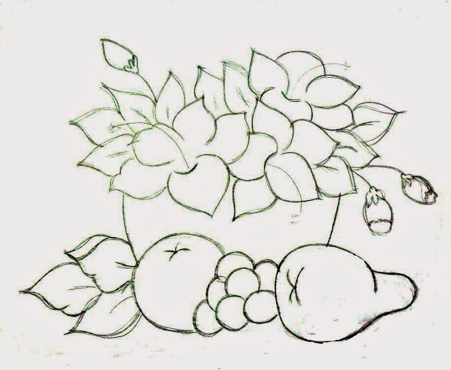 Desenho De Cesta Com Flores E Frutas Para Pintar Pinturas