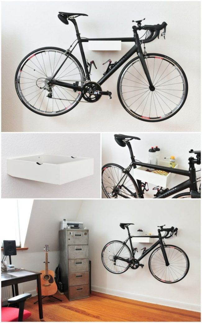 wohnung ideen selbst gemacht fahrrad wandhalterung holz weiss lackiert garage fahrrad. Black Bedroom Furniture Sets. Home Design Ideas