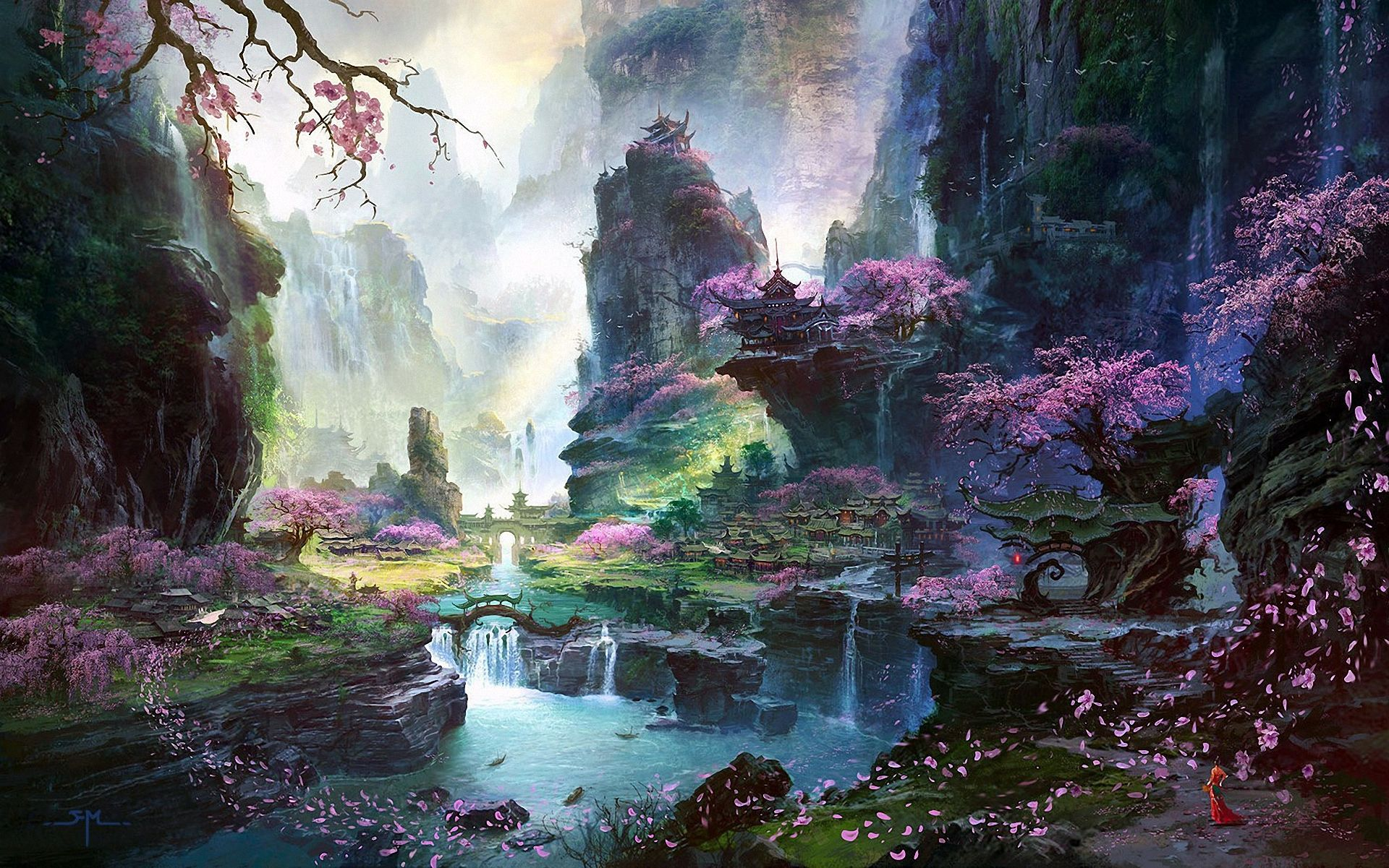 #art, #petals, #landscape, #rocks, #mountains, #river, #a waterfall, #a girl, #asia, #temple, #cherry trees