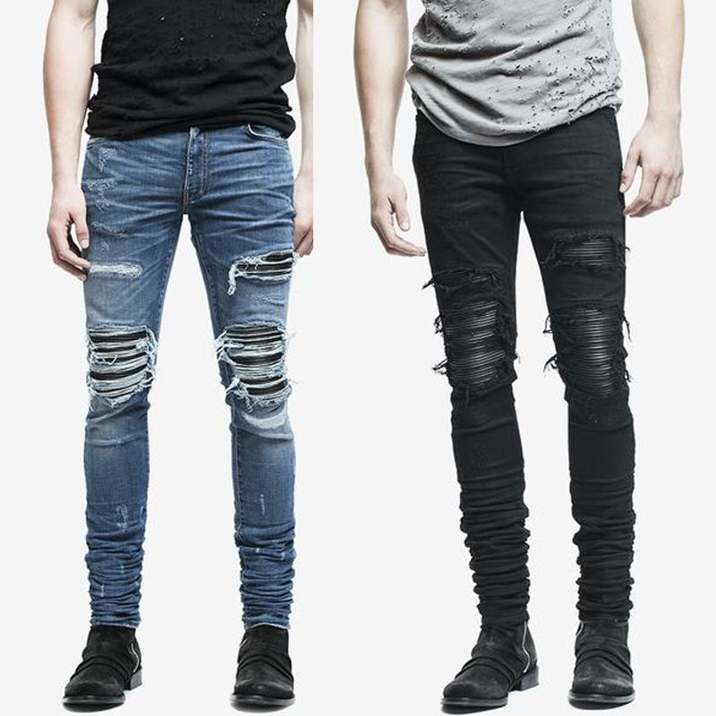 9e13b03cd6 fashion mens jeans hole pants ankle cool blue jogger damage jeans rock star High  Quality Casual destroyed skinny ruched jeans