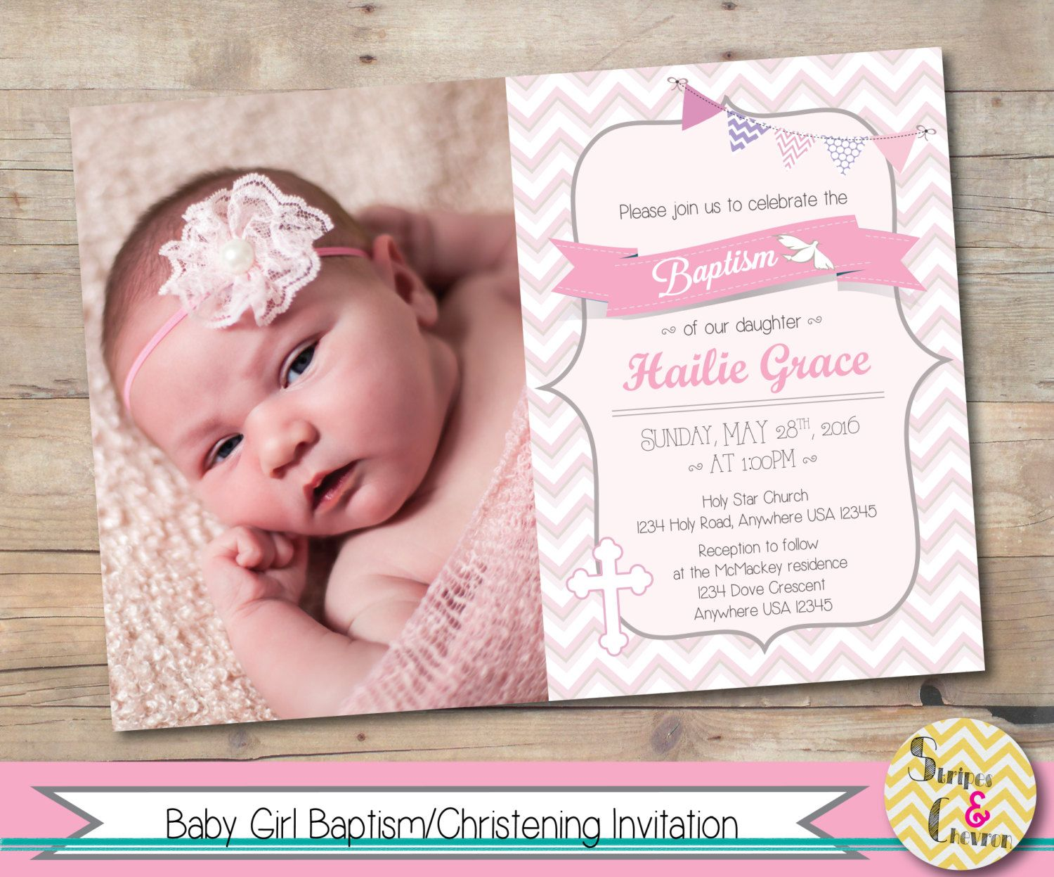 Girl Baptism Invitation Printable Christening Invite Personalized