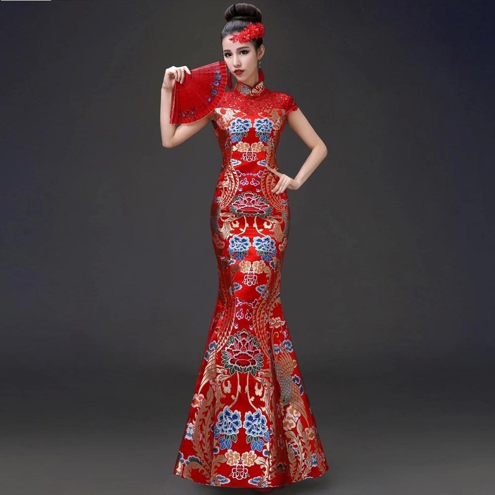 brocade satin gesanghua Phoenix hollow bride red fishtail qipao ...
