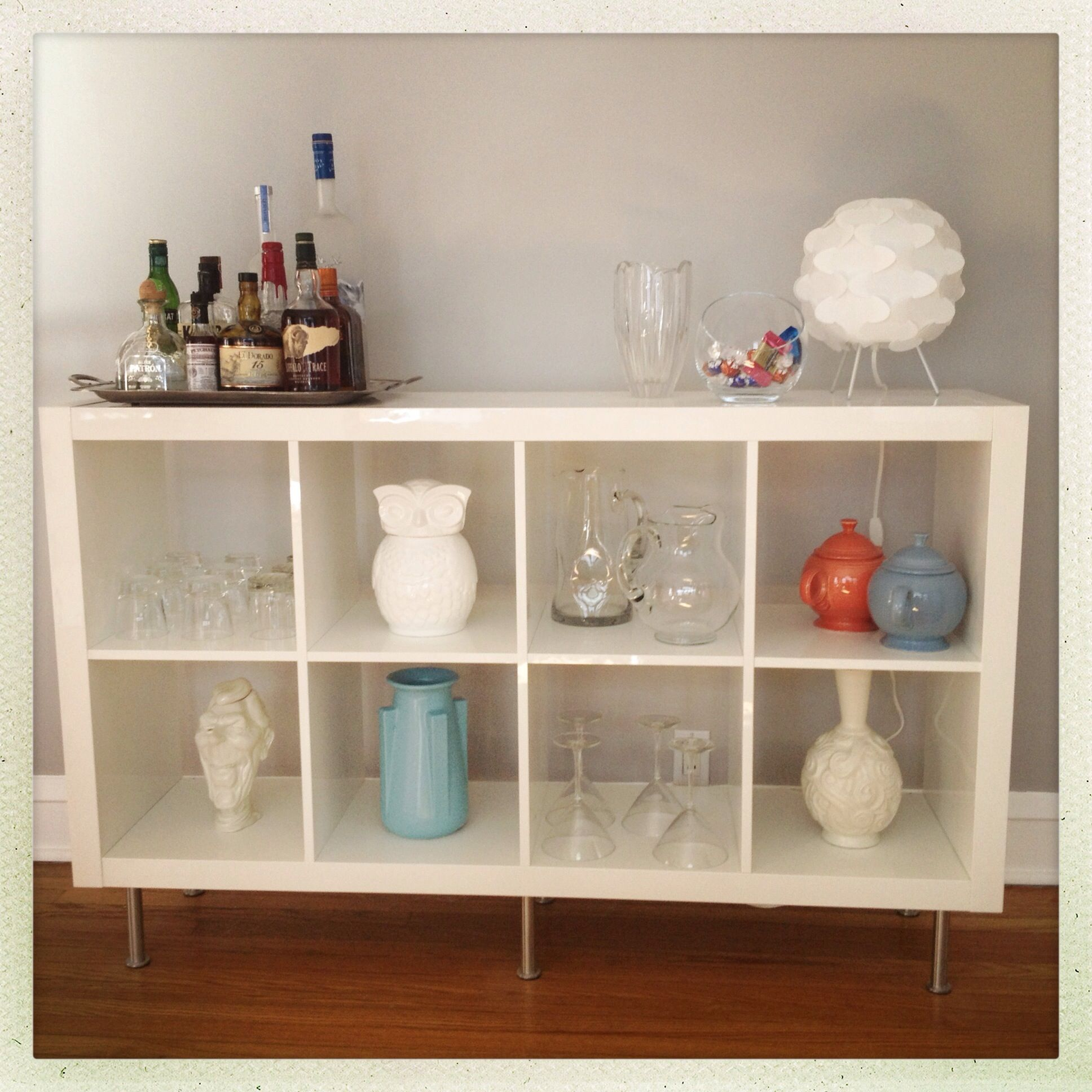 My First Ikea Hack Expedit Bookshelf Into A Sideboard Bar For Dining Room