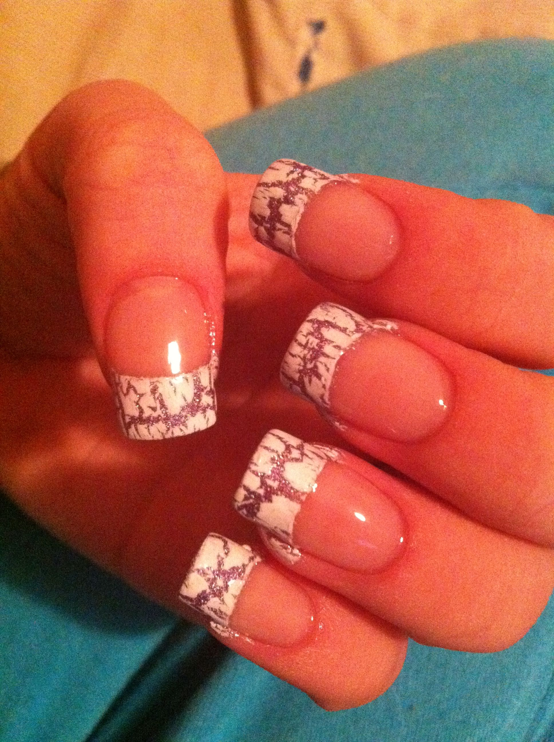 Purple And White Crackle Nail Tip Design Art Nail Designs By Me