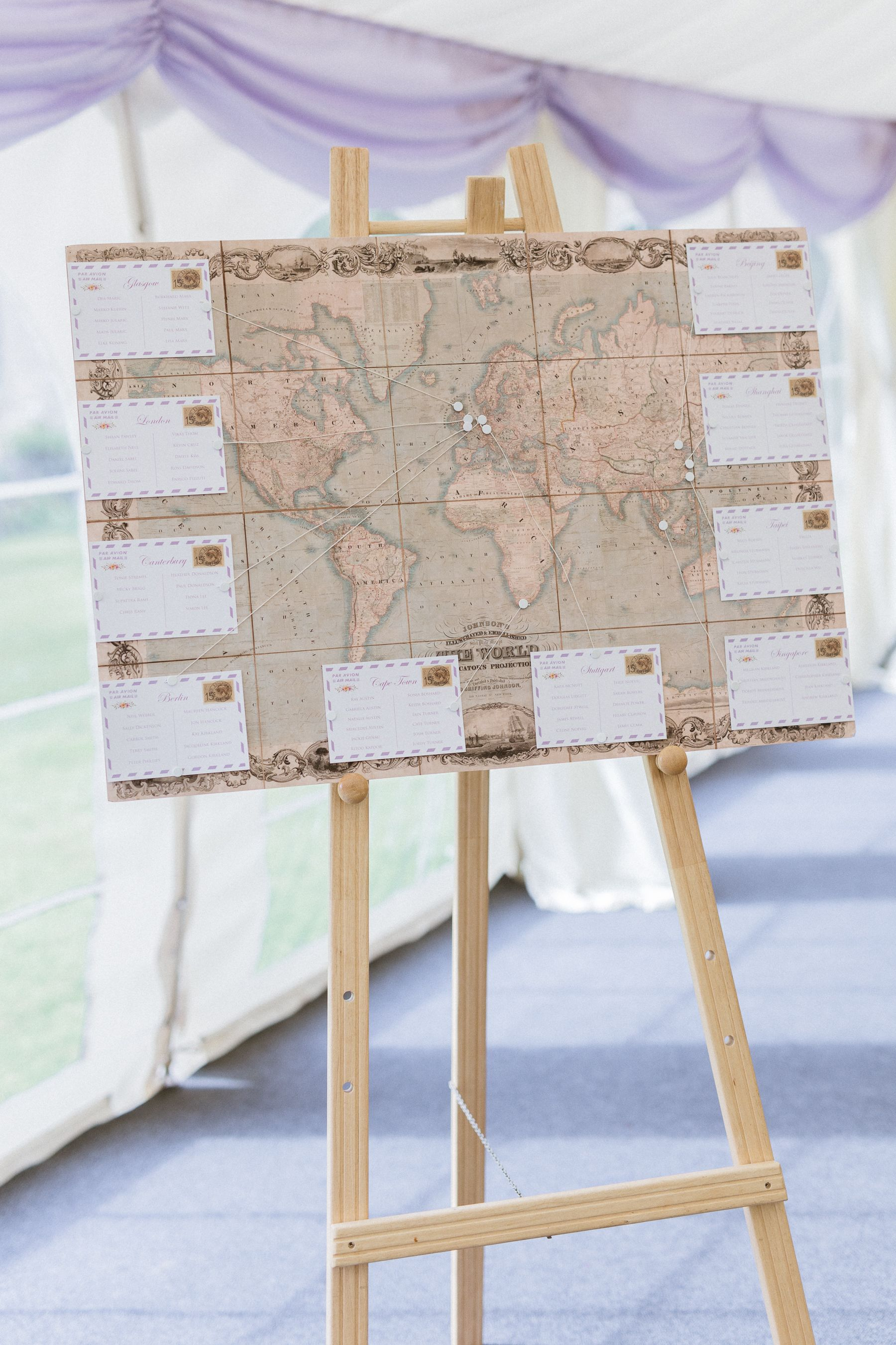 A world map themed wedding planning with individual postcards ...