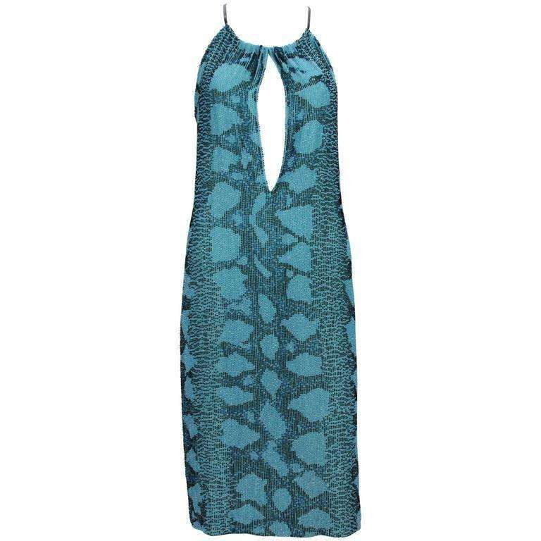 b86046a1639 New Tom Ford for Gucci S S 2000 Campaign Fully Beaded Python Cocktail Dress  42