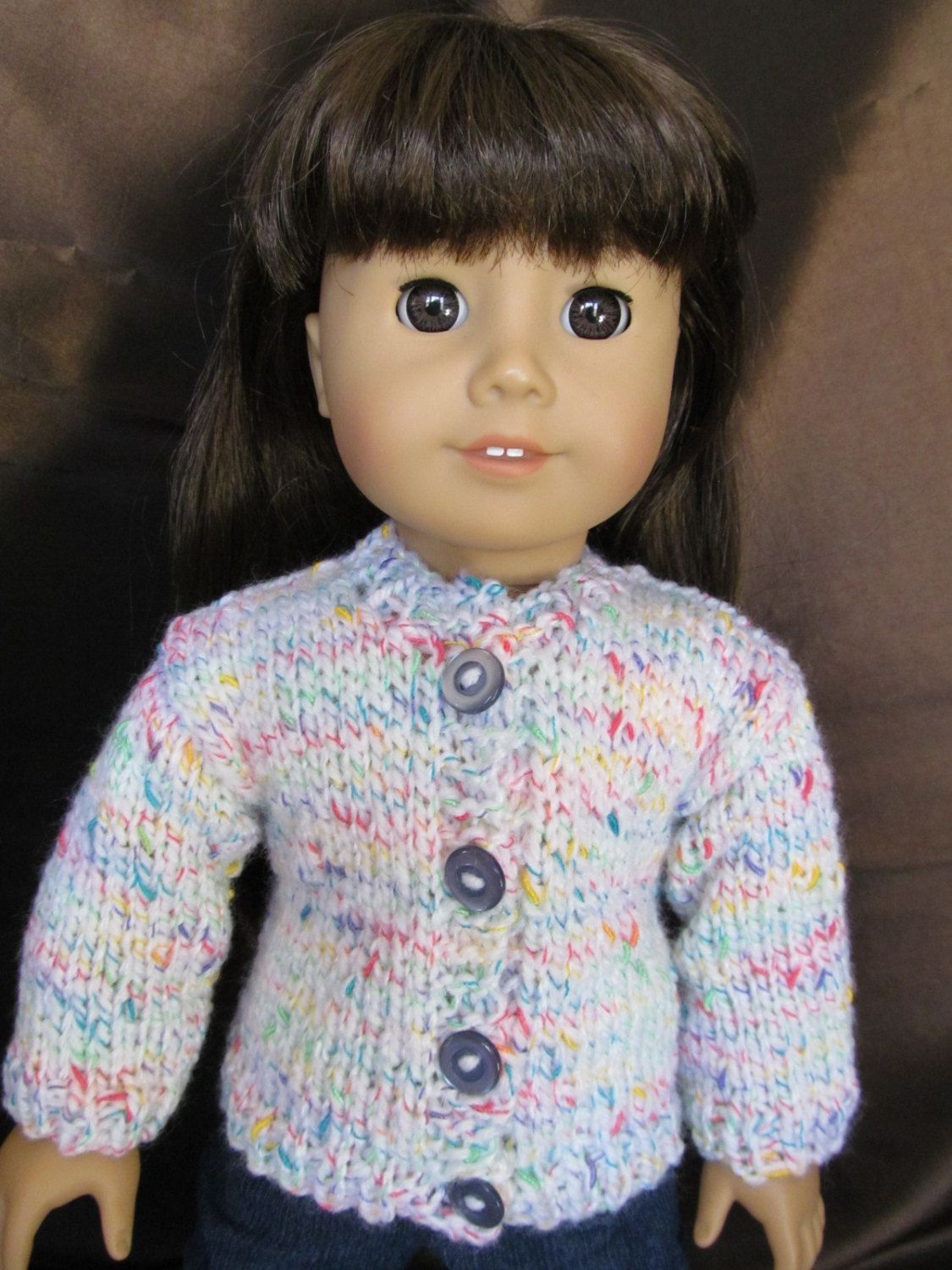 18''Doll Hand Knit Sweater, as seen on American Girl, Casual Wear, Everyday Wear, Fun Colorful Sweater, Multi Colored Sweater, Outer Wear by SewManyThingsbyNancy on Etsy