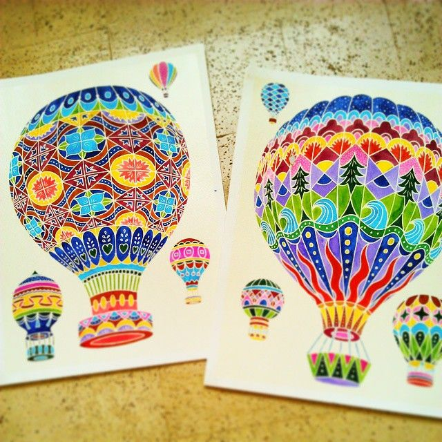 Aquarellum Junio Montgolfiere Airballon Colors Painting Art